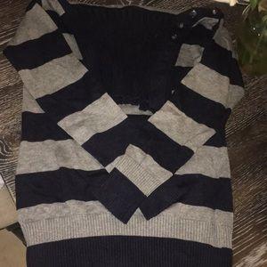 Banana republic Grey and navy striped sweater